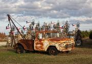 Icons  Art - Old Rusty Truck with Windmills by Linda Phelps