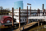 Western Architecture Prints - Old Sacramento California . Delta King Hotel . Paddle Wheel Steam Boat . 7D11525 Print by Wingsdomain Art and Photography