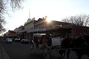 Carriages Art - Old Sacramento California In Partial Silhouette . 7D11719 by Wingsdomain Art and Photography