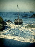 Wooden Ship Posters - Old Sailing Vessel Near the Rocky Shore Poster by Jill Battaglia