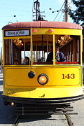 Railroads Framed Prints - Old San Jose Railroads Cablecar Trolley 143 . San Jose California . 7D12963 Framed Print by Wingsdomain Art and Photography