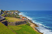 Caribbean Sea Metal Prints - Old San Juan Coastline Metal Print by Stephen Anderson