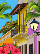 Puerto Rico Digital Art Prints - Old San Juan Print by Erasmo Hernandez
