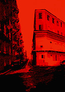 Contemporary Wall Decor Prints - Old San Juan in Red and Black Print by Ann Powell