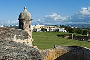 Castillo San Felipe Prints - Old San Juan Vista from El Morro Fort Print by George Oze