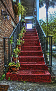 Bannister Digital Art Posters - Old Savannah Stairway Poster by Gregory Scott
