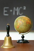 Chalkboard Art - Old school bell on desk  by Sandra Cunningham