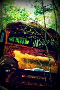 Transportation Mixed Media Metal Prints - Old School Bus Metal Print by Dana  Oliver