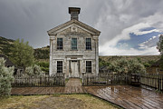 Miners Ghost Prints - Old School House After Storm - Bannack Montana Print by Daniel Hagerman