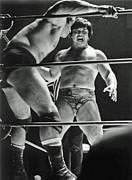 Old School Wrestling Karate Chop On Don Muraco By Dean Ho Print by Jim Fitzpatrick