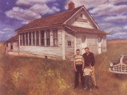 Old School House Painting Posters - Old Schoolhouse Revisited Poster by Suzn Smith