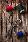 Mending Art - Old scissors and spools of thread by Garry Gay