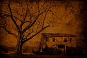 Old Abandoned Houses Posters - Old Sepia Poster by Emily Stauring