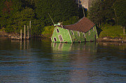 Roger Lewis Metal Prints - Old Shack Sinking  Metal Print by Roger Lewis
