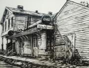 Illinois Drawings - Old Shawneetown by Michael Lee Summers