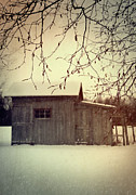 Atmospheric Prints - Old shed in wintertime Print by Sandra Cunningham