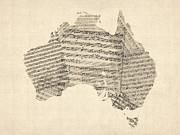Music Map Digital Art Framed Prints - Old Sheet Music Map of Australia Map Framed Print by Michael Tompsett