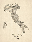 Sheet Music Digital Art Posters - Old Sheet Music Map of Italy Map Poster by Michael Tompsett