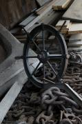 Chains Photos - Old Ships Wheel, Chains And Wood Planks by Todd Gipstein