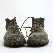 Aging Photos - Old shoes by Bernard Jaubert