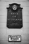 Plaque Posters - Old Sign For The Bank Of Scotland Glasgow Chief Office On Renfield Street Glasgow Scotland Poster by Joe Fox
