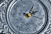 Alarm Clock Photos - Old silver clock by Carlos Caetano