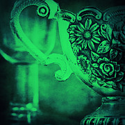 Detail Mixed Media - Old silver green motion by Angela Doelling AD DESIGN Photo and PhotoArt