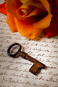 Calligraphy Photo Prints - Old Skeleton Key On Letter Print by Garry Gay