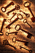 Score Photo Framed Prints - Old skeleton keys on sheet music Framed Print by Garry Gay