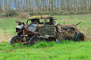 Rusted Cars Prints - Old Smashed Wreck Print by Randy Harris