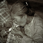 Burma Prints - Old smoker woman Print by RicardMN Photography