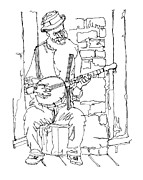 Player Drawings Posters - Old Southern Banjo Player Poster by Rob Loflin