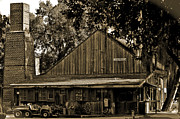 Wagon Photos - Old Spanish Sugar Mill Sepia by DigiArt Diaries by Vicky Browning