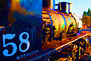 Railroads Framed Prints - Old Steam Locomotive Engine 1258 . Painterly Framed Print by Wingsdomain Art and Photography