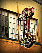 New Orleans Posters - Old Steel Neon Sign Poster by Perry Webster