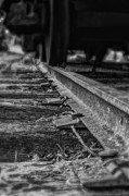Gravel Road Prints - Old Steel Railroad Tracks - BW Print by Steve Hurt