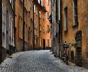 Brick Streets Framed Prints - Old Stockholm Framed Print by Joe Bonita