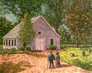 Headstones Painting Metal Prints - Old stome Church Metal Print by Frank Morrison