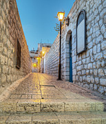 Entrance Door Posters - Old Stone Alleyway With Electric Lights Poster by Noam Armonn