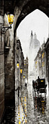Street Mixed Media Metal Prints - Old Street Metal Print by Yuriy  Shevchuk