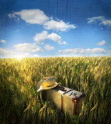 Straw Hat Posters - Old suitcase with straw hat in field Poster by Sandra Cunningham