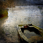 Rowboat Digital Art Posters - Old sunken boat. Poster by Bernard Jaubert