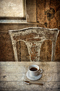 Dining Table Prints - Old Table and Chair with Coffee Print by Jill Battaglia