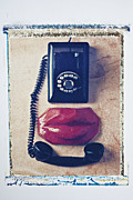 Phone Conversation Posters - Old telephone and red lips Poster by Garry Gay
