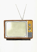 Old Television Set Print by Michael Vigliotti