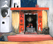 Temple Pastels - Old Temple in Macao by Deborah Farley