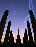 Thunder Cloud Prints - Old Temple With Thunderbolt Print by Setsiri Silapasuwanchai