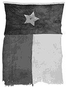 Texas Country Music Digital Art Prints - Old Texas Flag BW10 Print by Scott Kelley