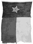 Old Texas Flag Bw10 Print by Scott Kelley