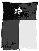 Texas Country Music Digital Art Prints - Old Texas Flag BW3 Print by Scott Kelley